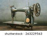 vintage sewing machine | Shutterstock . vector #263229563