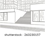 architectural sketch of street...   Shutterstock .eps vector #263230157