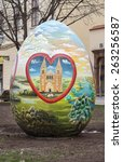 Small photo of ZAGREB, CROATIA - MARCH 21, 2015: Large Easter eggs decorated by Croatian naive artists. Naive art is a art that is often characterized by a childlike simplicity in its subject matter and technique.