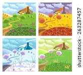 rural landscape with hills ... | Shutterstock .eps vector #263287457