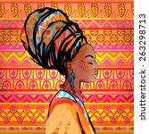 portrait of beautiful african... | Shutterstock .eps vector #263298713