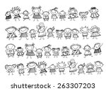 group of sketch kids | Shutterstock .eps vector #263307203