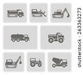 set of monochrome with machines   Shutterstock .eps vector #263363273
