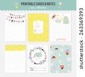 romantic and love cards  notes  ... | Shutterstock .eps vector #263369393