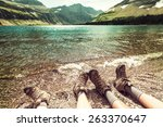 hike in glacier national park ... | Shutterstock . vector #263370647