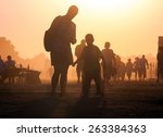 lots of people in the dust... | Shutterstock . vector #263384363