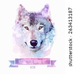 vector set of animals. wolf... | Shutterstock .eps vector #263413187