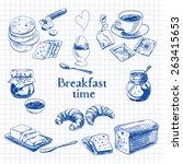 vector breakfast hand drawn set.... | Shutterstock .eps vector #263415653