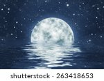 Moon Set Over Water With Waves...