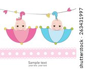 twin baby boy and girl with... | Shutterstock .eps vector #263431997