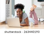 african american woman using a... | Shutterstock . vector #263440193