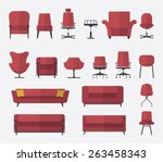 flat design  icon set of chair... | Shutterstock .eps vector #263458343