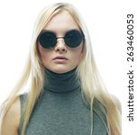 young blond fashion woman with... | Shutterstock . vector #263460053