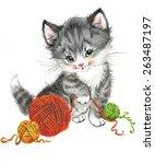 Funny Animal Kitten. Watercolor