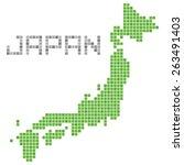 pixel art of japan  green  | Shutterstock .eps vector #263491403