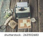 vintage typewriter and... | Shutterstock . vector #263502683