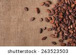 Raw Cocoa Beans On  Sacking To...