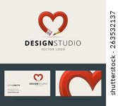 logotype and business card... | Shutterstock .eps vector #263532137