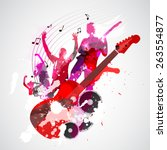 spatter music background with...   Shutterstock .eps vector #263554877