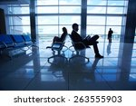 business travelers waiting for... | Shutterstock . vector #263555903