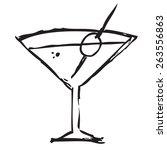 martini drink doodle | Shutterstock .eps vector #263556863