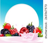 vector frame with wild berry...