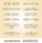 a set of vintage ornamental...   Shutterstock .eps vector #263582213