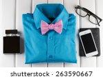 top view of gentlemanly set ... | Shutterstock . vector #263590667