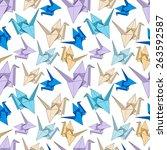 origami crane seamless pattern. ... | Shutterstock .eps vector #263592587