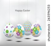 a set of beautiful easter eggs... | Shutterstock .eps vector #263596253