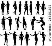 black silhouettes of beautiful... | Shutterstock .eps vector #263601833