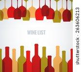 wine glass bottle art background | Shutterstock .eps vector #263606213