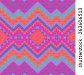 seamless colorful navajo pattern | Shutterstock .eps vector #263606513