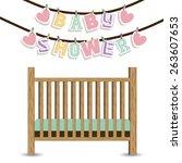baby shower design over white... | Shutterstock .eps vector #263607653