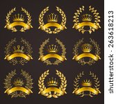 set of luxury gold labels ... | Shutterstock .eps vector #263618213