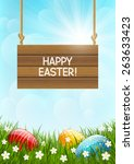 easter card with color eggs | Shutterstock .eps vector #263633423