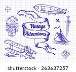 vintage adventures  vector set.