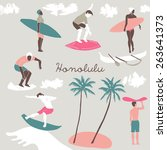 honolulu  print design | Shutterstock .eps vector #263641373