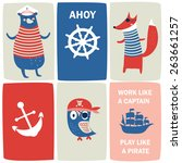 cute marine cards with pirates... | Shutterstock .eps vector #263661257