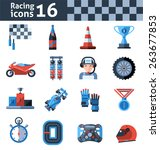 racing icons set with... | Shutterstock .eps vector #263677853