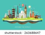 Illustration  of vector flat design postcard with famous world landmarks icons | Shutterstock vector #263688647