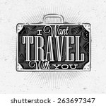 tourist poster with lettering i ... | Shutterstock .eps vector #263697347