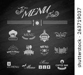vector template chalkboard menu ... | Shutterstock .eps vector #263719037