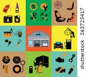 car part set of repair icon... | Shutterstock .eps vector #263723417