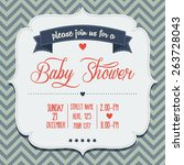 baby shower invitation in retro ... | Shutterstock .eps vector #263728043