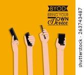 byod design over orange... | Shutterstock .eps vector #263743487