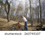 Man Burning Brush In The Woods