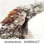 cute beautiful woman with pure... | Shutterstock . vector #263806127