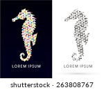 colorful silhouette  seahorse ... | Shutterstock .eps vector #263808767