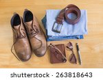 still life with men's casual... | Shutterstock . vector #263818643